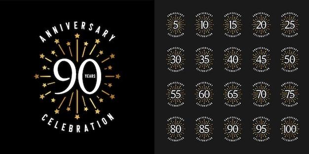 Firework anniversary celebration emblem set.