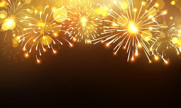 Firework background, celebration happy new year gold design.
