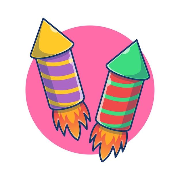 Иллюстрации шаржа фейерверк. плоский мультяшный стиль