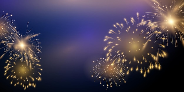 Firework and christmas themed celebration party 2022 happy new year background design.