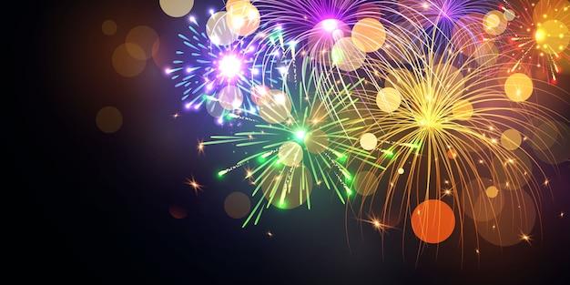 불꽃 화려한 크리스마스 테마 축 하 파티 새 해 복 많이 받으세요 배경.