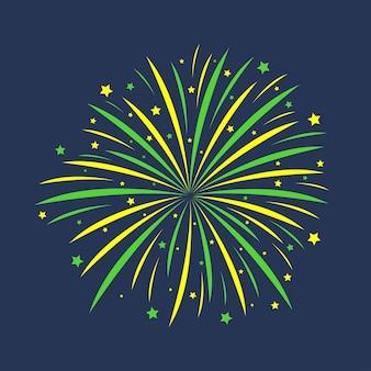 Фейерверк праздничный взрыв празднования салют годовщины взрыва изолирован на темном фоне