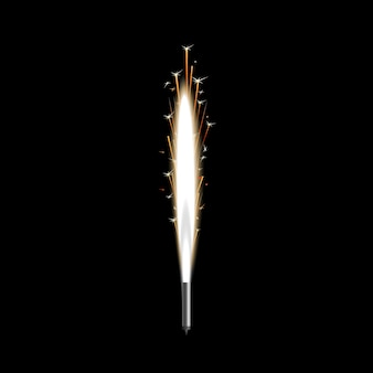 Фейерверк фонтан искр или пиротехнические свечи иллюстрации.