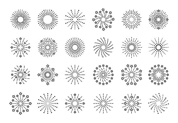 花火のアイコン。ラインスパークル爆発。バーストスターとスパークのセット。明けましておめでとうございます光沢のあるシンボル。白い背景で隔離の誕生日パーティーの要素を概説します。ベクトルイラスト。