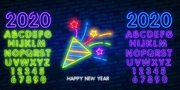 Firework neon sign of glowing red petards with sparkles on dark blue brick background and alphabet
