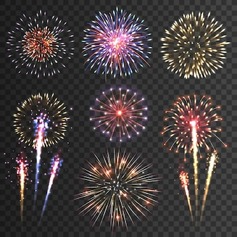 Firework pictograms black background set
