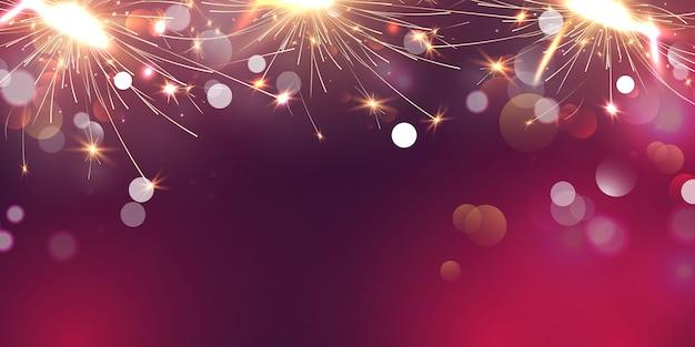 花火線香花火とクリスマスをテーマにしたお祝いパーティー新年あけましておめでとうございますゴールドの背景。