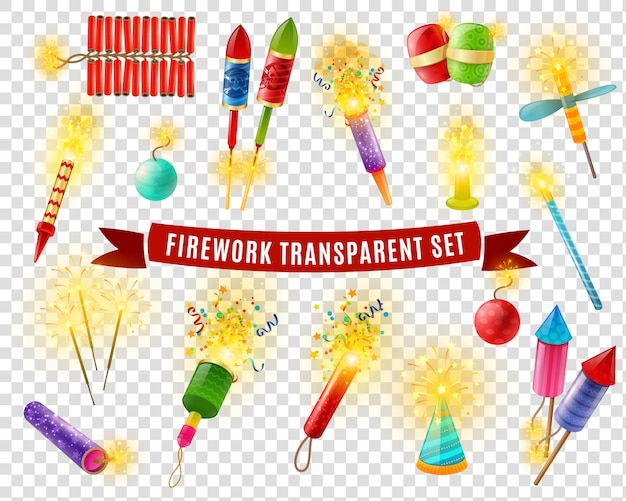 Firework sparlers firecrackers transparent background set