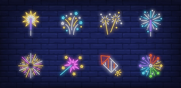 Firework symbols set in neon style