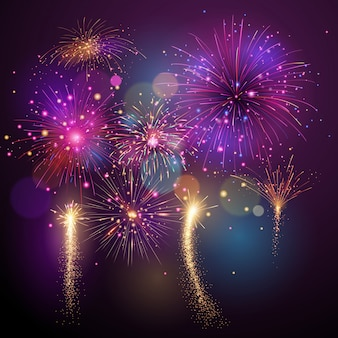 Firework vector illustration in various shapes sparkling colorful background