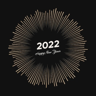 Firework with inscription 2022 and happy new year. explosion with  line rays christmas card isolated on black background. vector illustration