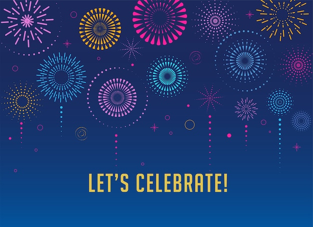 花火とお祝いの背景、勝者、勝利のポスター、バナー