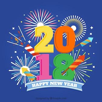 花火、新年のお祝いの紙吹雪