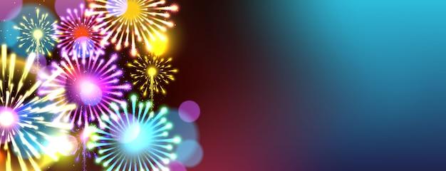 Fireworks background. new year celebration concept.