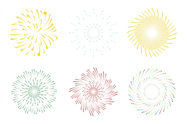 Fireworks burst explosion set