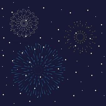 Фейерверк взрывов взрывов в ночном небе