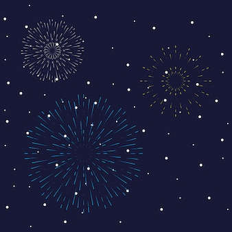 Fireworks burst explosions in the night sky