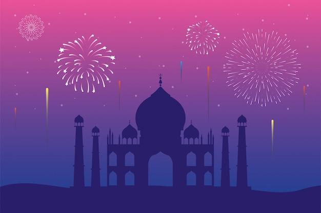 Fireworks burst explosions in taj mahal skyline