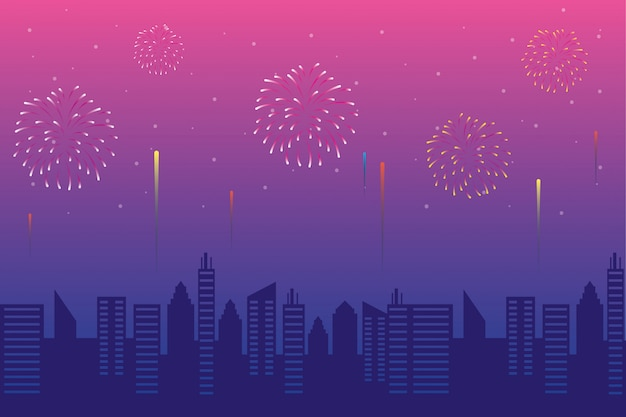 Fireworks burst explosions with citycape in pink sky background