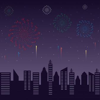 Fireworks burst explosions with cityscape at night