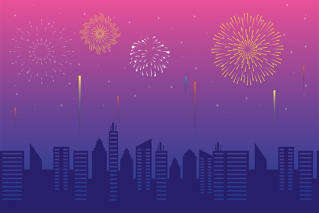 Fireworks burst explosions with cityscape