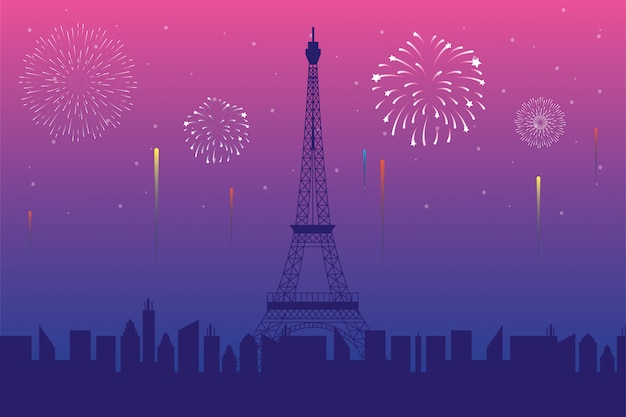 Fireworks burst explosions with paris city scene in pink background