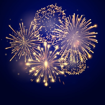 Fireworks bursting in various shapes. firework explosion in night. firecracker rockets bursting in big sparkling star balls