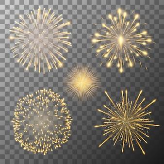Fireworks bursting in various shapes