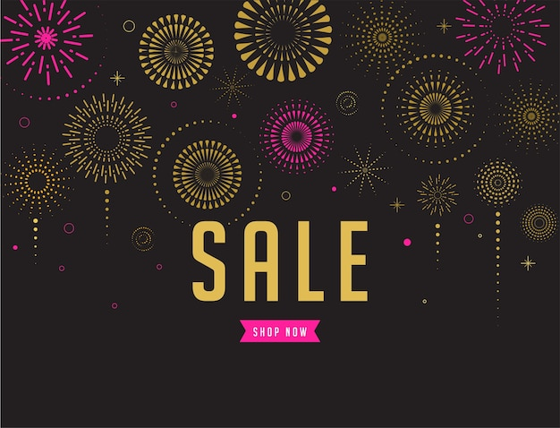 Fireworks and celebration background, sale poster and banner