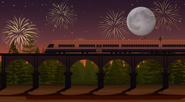 Fireworks celebration with train scene Free Vector