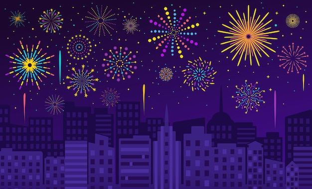 Fireworks over city, night sky with firework display. carnival, party celebration, festive firecrackers evening cityscape vector illustration