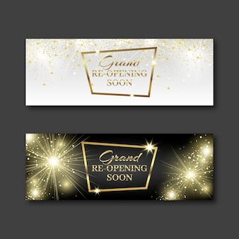 Fireworks and confetti re-opening banner template