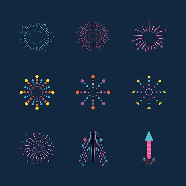 Fireworks explosion icon set over blue background, flat style