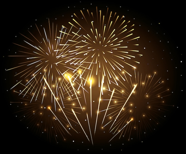 Fireworks explosion on night dark sky, new year celebration