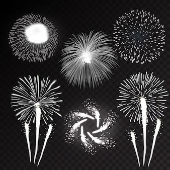 様々な形のパターンで花火お祝いバースト輝くアイコンセット黒背景の抽象的なイラスト
