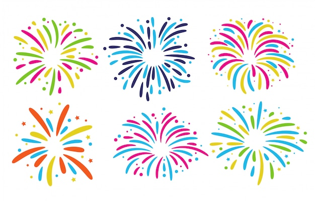 Fireworks floor collection. colorful fireworks for celebrations in the new year festival.