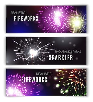 Fireworks horizontal banners realistic set with sparkler isolated vector illustration