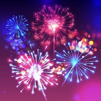 Fireworks illustration of sparkling birght lights and bokeh effect.