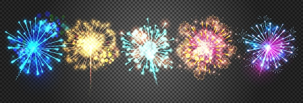 Fireworks illustration of sparkling bright firecracker lights.