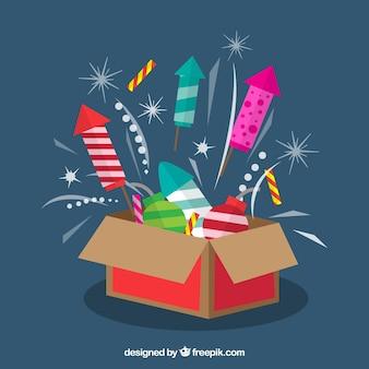 Fuochi d'artificio all'interno di una scatola