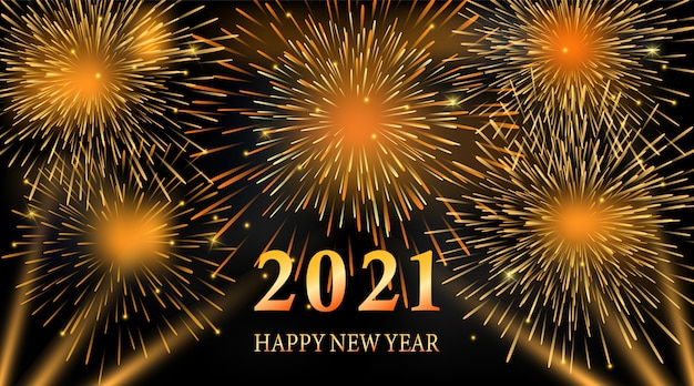 Fireworks and light on night sky illustration. 2021  new year background