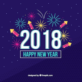 Fireworks new year 2018 background in dark blue