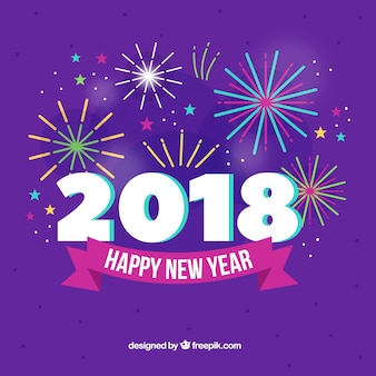 Fireworks new year 2018 background in purple