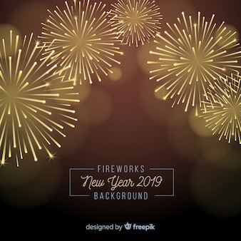 Fireworks new year 2019 background