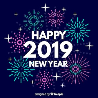 Fireworks new year 2019 background
