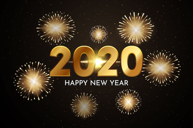 Fireworks new year 2020 background