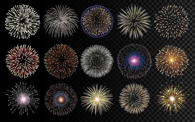 Fireworks realistic  illustration. celebrating, birthday and new year decorations.