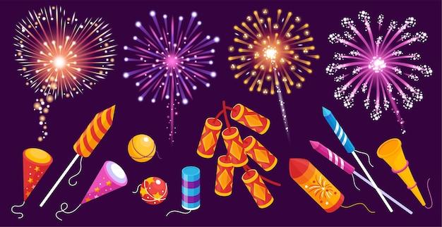Fireworks rockets firecrackers bengal lights smoke balls sparkles colorful festive set