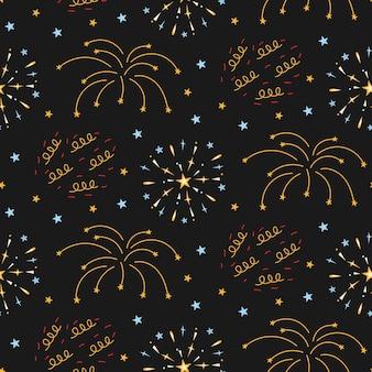 Fireworks seamless pattern on night background.