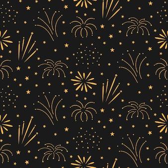 Бесшовный узор фейерверк на ночном фоне